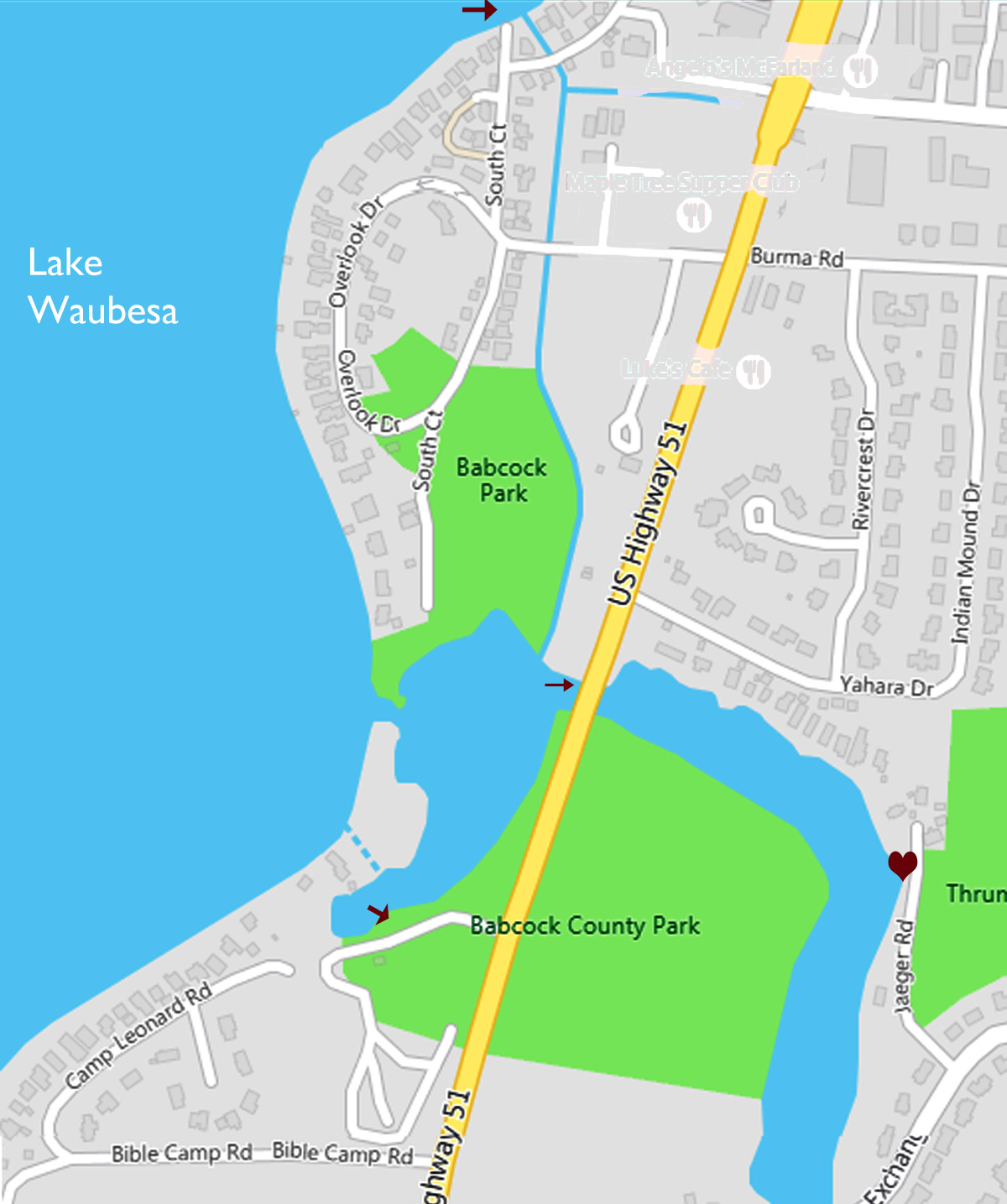 Map of Babcock park area